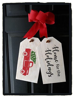 "Wooden project Door Tags ""Home for Holidays /Truck"""