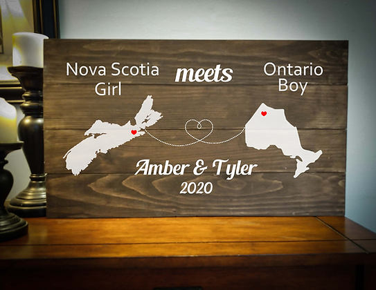 "Rustic Wooden Sign project ""2 Maps / Girl Meets Boy""  14""x24"""