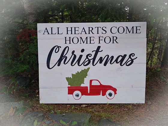 """PREMADE Rustic Wooden Sign """"All Hearts - truck"""" 18""""x24"""""""
