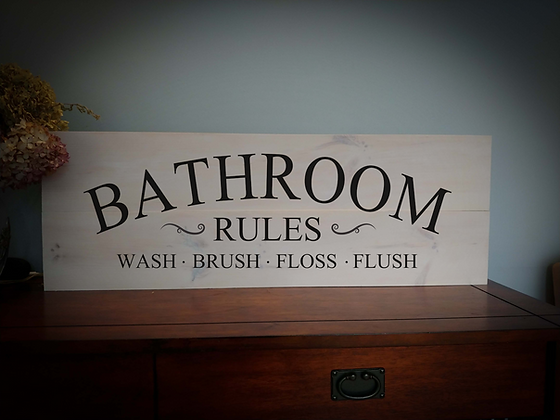 """Rustic Wooden Sign Project """"Bathroom Rules"""" 11""""x 32"""""""