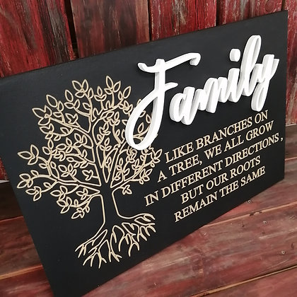"Carved / 3D sign - Family Tree -  16""x24""  MDF fully finished"