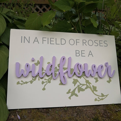 "3D/ stencil  Wooden Sign Project 16x24 ""WILDFLOWER"""