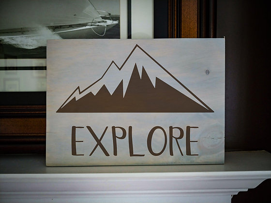 "Rustic Wooden Plank project ""Explore""   12""x16"""