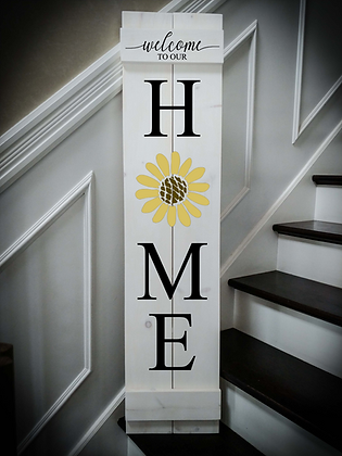 """ HOME flower"" Large Porch Sign 11""x48"""