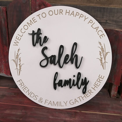 "3D sign - ""Welcome - happyplace -wheat"" carved  23.5""round   fully finished"
