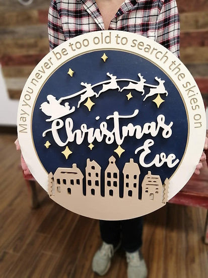 """3D DIY TO GO Project - """"Christmas Eve""""    23.5""""round MDF"""