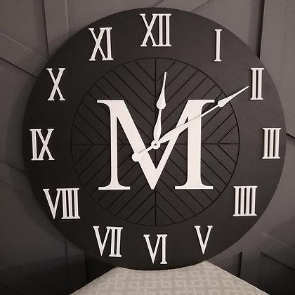 "Custom 3D Clock - Monogram XL -  28""  round fully finished"