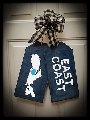 "Wooden Door Tags ""East Coast / Map"" fully finished"