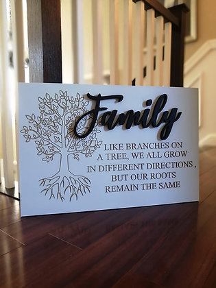 "PREMADE Carved / 3D sign - Family -  16""x24""  MDF fully finished"
