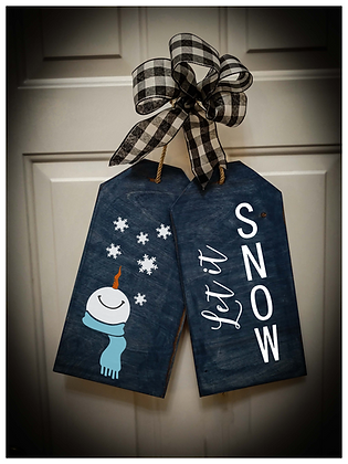 "Wooden project Door Tags ""Let It Snow / Snowman"""