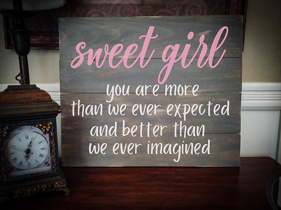 """Rustic Wooden Sign """"Sweet Girl"""" 20""""x24"""""""