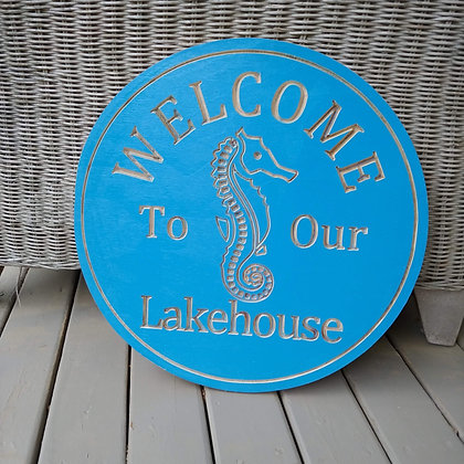 "Carved Wooden round 16"" ""Lakehouse - Seahorse"""