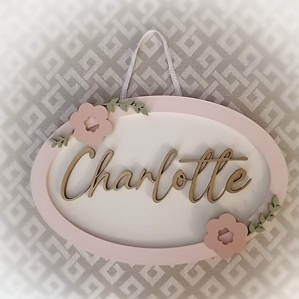 """3D sign - OVAL One Name - floral 10""""x15"""" approx fully finished"""