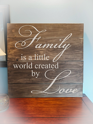 "Rustic Wooden Sign ""Family / Love"" 23""x23"""