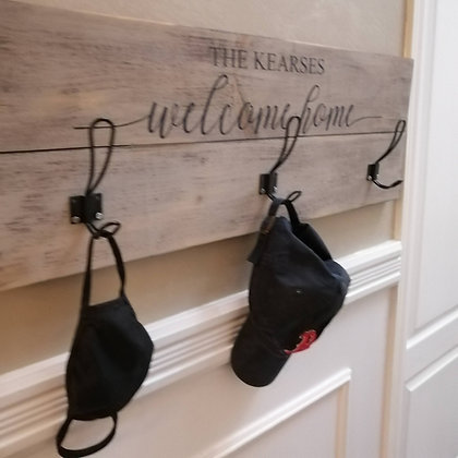 """Rustic Wooden coat rack project """"Welcome Home surname""""   11""""x32"""""""