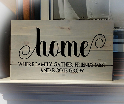 """Rustic Wooden Sign Project """"Home, Where Family Gather"""" 14""""x24"""""""