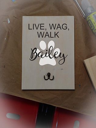 """Rustic Wooden Plank /hook Project """"Live, Wag, Walk""""   12""""x16"""""""