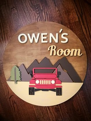 "3D sign - Jeep /Two Names or room 23.5"" round fully finished"