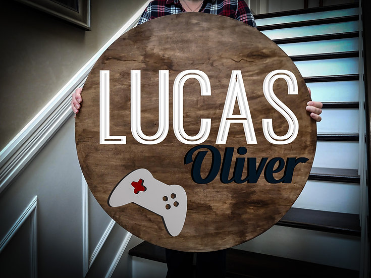 """3D sign - Two Names - Gamer 23.5"""" round fully finished"""