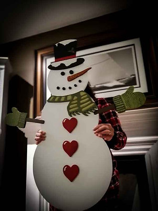 "PREMADE 3D Wooden Sign "" Snowman "" 34"""