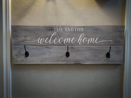 "Rustic Wooden coat rack project ""Welcome Home surname""   11""x32"""
