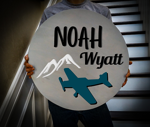 """3D sign - Two Names - Plane 23.5"""" round fully finished"""