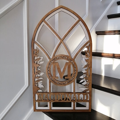 """3D  Sign Project """" Surname window"""" 15.5""""x 27.5 """"  DIY"""