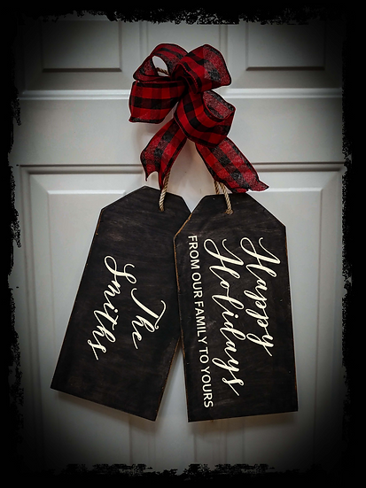 """Wooden project Door Tags """"Happy Holidays / surname"""""""