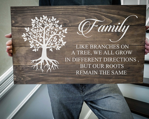 """Rustic Wooden Sign Project """"Family ( Tree )"""" 14""""x24"""""""