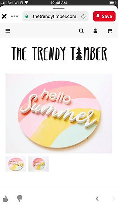 "3D Wooden Sign Project "" CUSTOM HELLO SUMMER DIY"" 18"" round DIY"