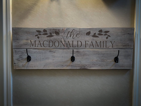 "Rustic Wooden coat rack project ""surname""   11""x32"""