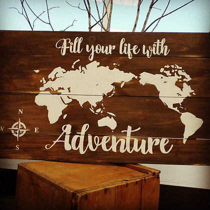 """Rustic Wooden Sign """"Adventure - Map""""   18""""x32"""""""