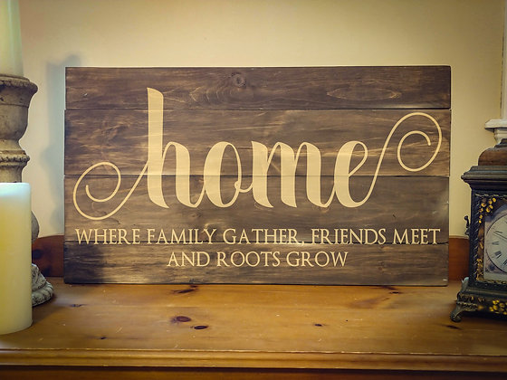 "Rustic Wooden Sign ""Home""   18""x32"""