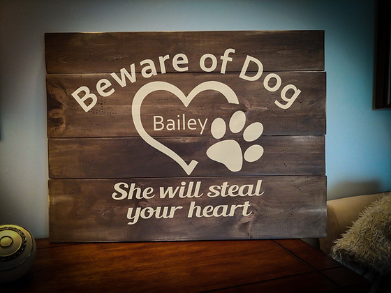 "Rustic Wooden Sign Project ""Beware of Dog""   18""x 24"""