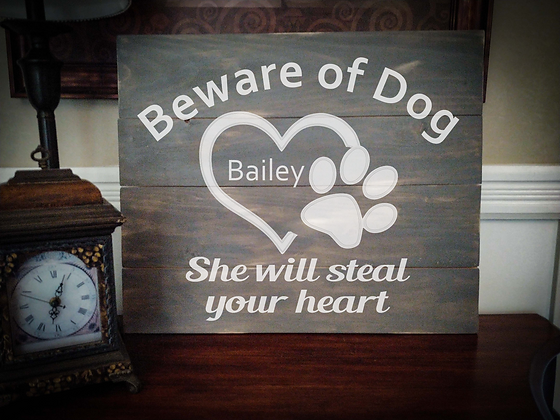 "Rustic Wooden Sign ""Beware of Dog"" 20""x24"""
