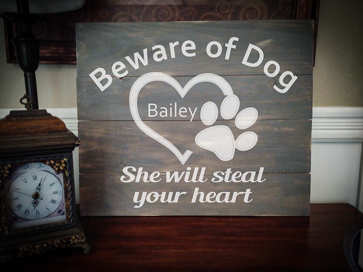 """Rustic Wooden Sign """"Beware of Dog"""" 20""""x24"""""""