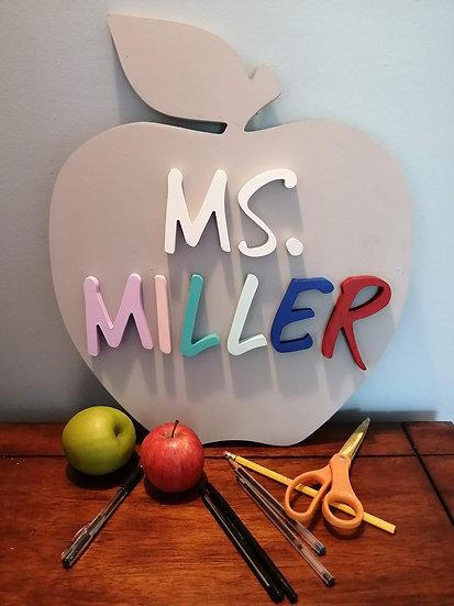 """3D Wooden Sign Project """" Teacher Classroom sign"""" 14""""x17"""" apple DIY"""