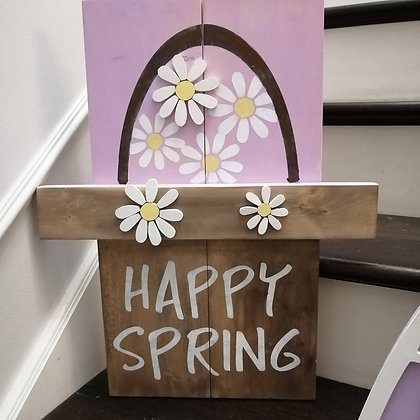 "3D/ Stencil Sign Project "" Rustic Spring Basket"" 11x20 DIY"