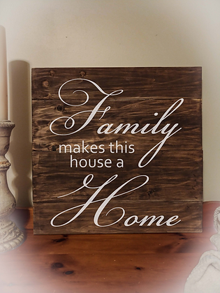 "Rustic Wooden Sign ""Family / Home"" 23""x23"""