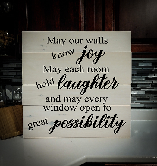 """Rustic Wooden Sign """"May Our Walls"""" 23""""x23"""""""