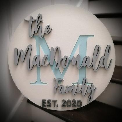 """3D/ carved MDF Sign Project """" Monogram surname"""" 23.5"""" round DIY"""