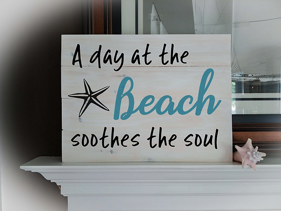 "Rustic Wooden Sign Project ""Day at the Beach""   18""x 24"""