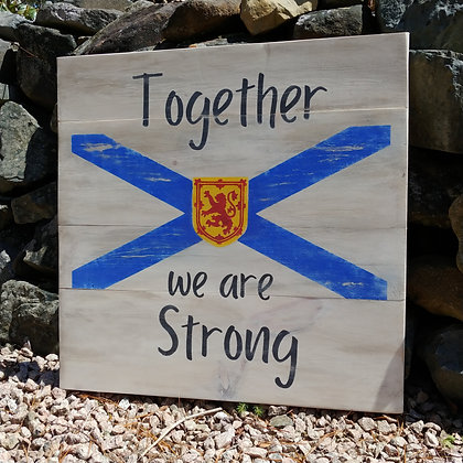 """Rustic Wooden Sign project """"Strong with Flag""""   23""""x 23"""""""