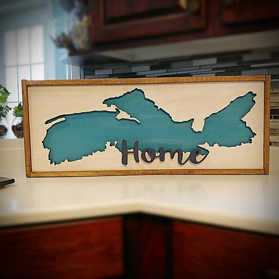 "3D wooden sign ""NS map/home "" 14x34 framed"