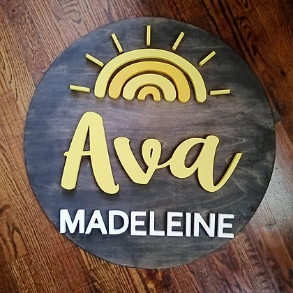 "3D sign - ""Sunshine""  Two Name   23.5""round   fully finished"