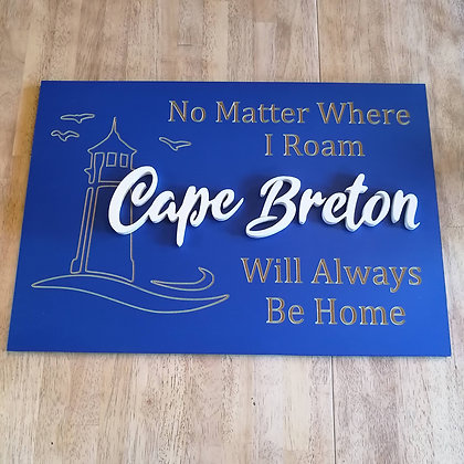 "Carved / 3D sign - Cape Breton -  16""x24""  MDF fully finished"