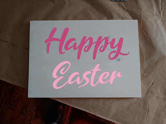 """Rustic Wooden Plank """"Happy Easter""""   12""""x16"""""""