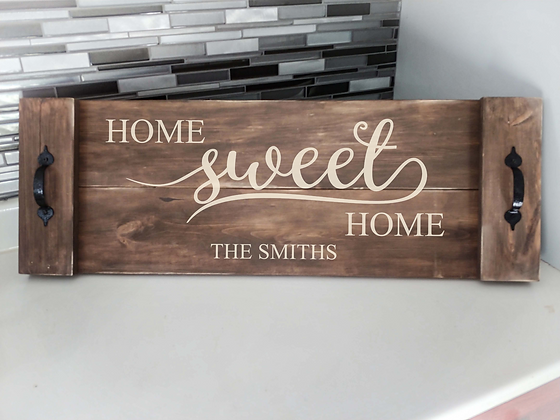"Rustic Wooden Tray project ""HSH""  11""x 32"""