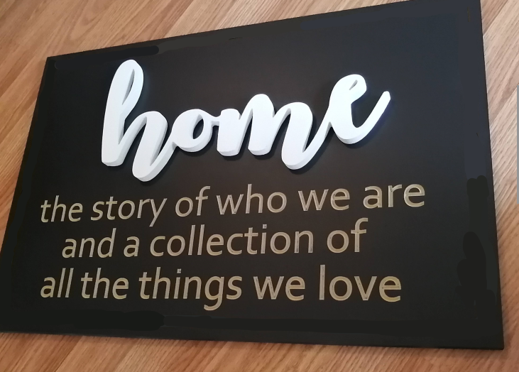 """3D/ Stencil Sign Project 16x24MDF """"home...the story"""""""