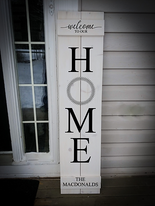 "Porch sign - ""HOME Wreath - Surname"" 11""x48""   fully finished"